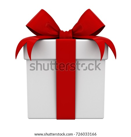 Gift box and present box with red ribbon bow isolated on white background. 3D rendering.