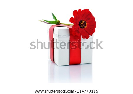 gift box and red flower close up