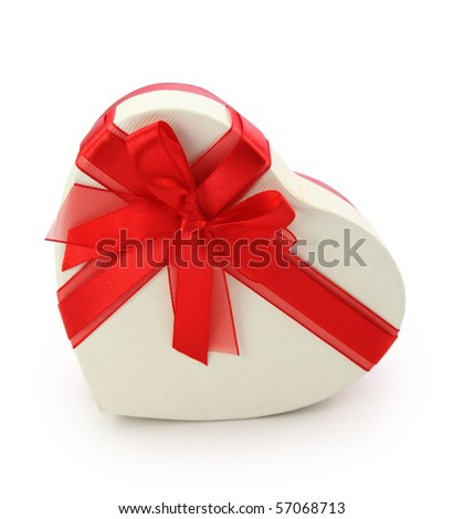 Gift box and red ribbon isolated