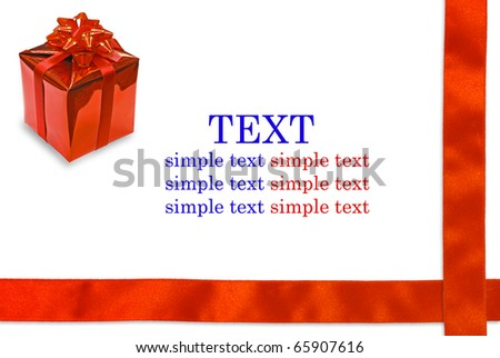 Gift box and red ribbon on white background with copy space for text