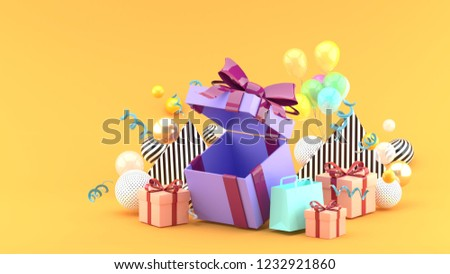 Gift Box and Shopping Bag amid colorful balls on orange background.-3d rendering.