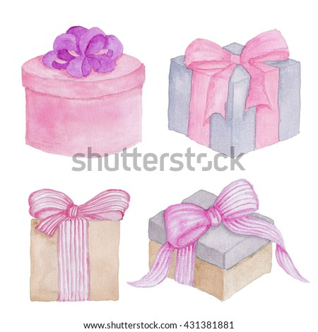 Gift Box Birthday Ribbon Watercolor Hand-painted Clip Art Isolated on the white
