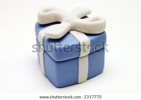 Gift Box - Blue Porcelain Gift Box with White Ribbon against plain background