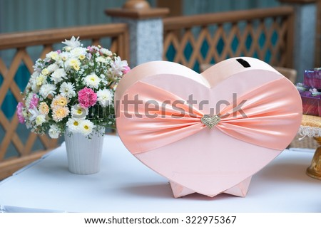 gift box for Thai wedding party in heart shape style,Heart gift box of pastel colors. wedding\'s Day and love concept.