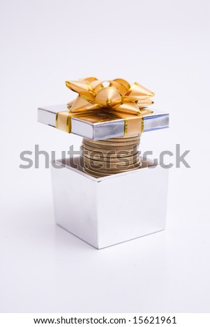 Gift Box full of money with yellow  Ribbon