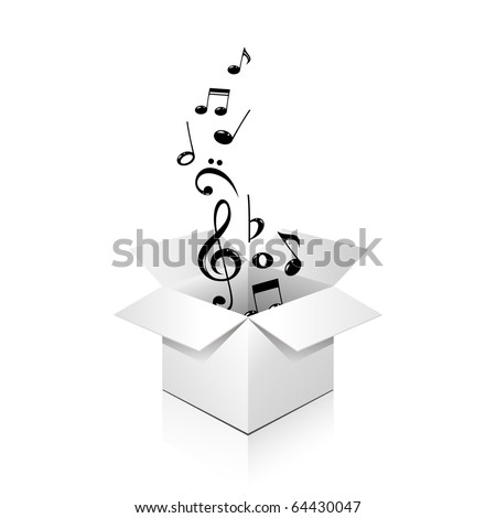 gift box full of notes, over white, isolated - stock photo