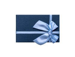 Gift box in blue isolated on a white background.