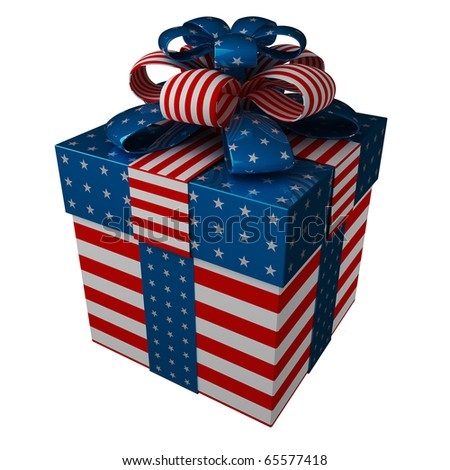 Gift Box Usa Gift Box in Style of a Flag