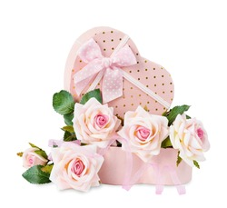 Gift box in the shape of heart and roses on a white background
