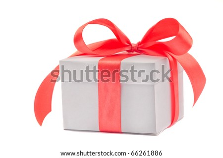Gift box  isolated on white. side view.