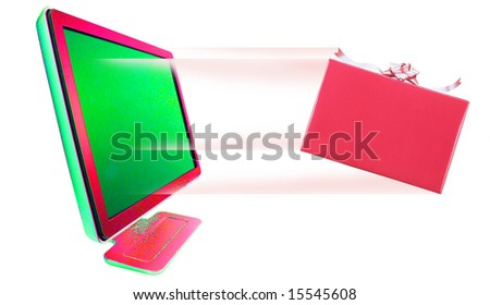 Gift Box  leaving out of computer monitor - stock photo