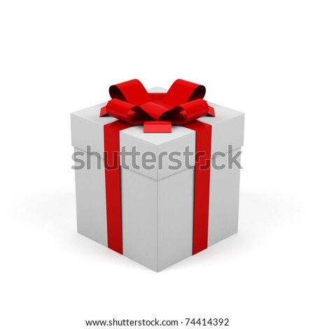 Gift box on a white background. - stock photo