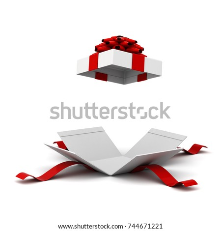 Gift box opening , present box with red ribbon bow isolated on white background with shadow . 3D rendering.