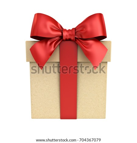 Gift box or present box with red ribbon bow isolated on white background. 3D rendering.