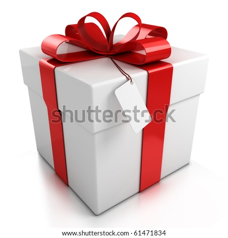gift box over white background 3d illustration