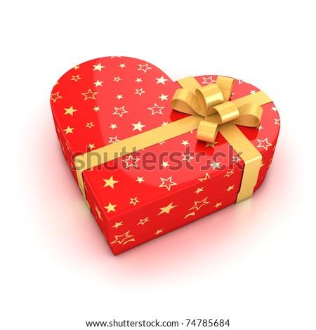 gift box over white background 3d illustration - stock photo