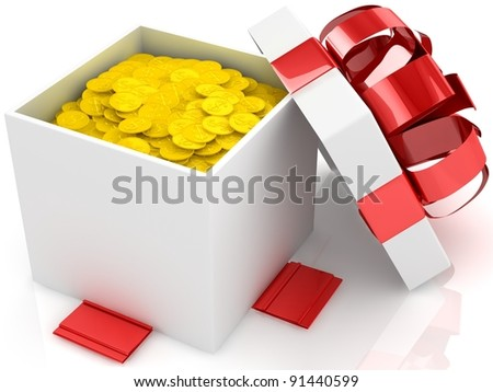 Gift box over white background with gold coins. 3d illustration.