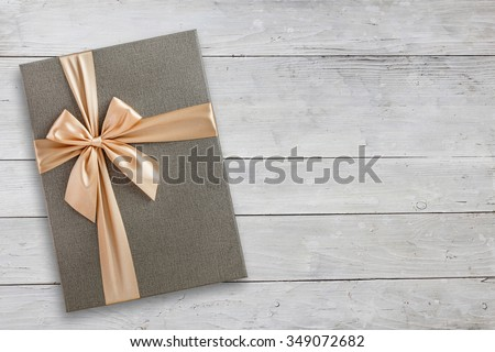 Gift box over wood with copy space, top view #349072682