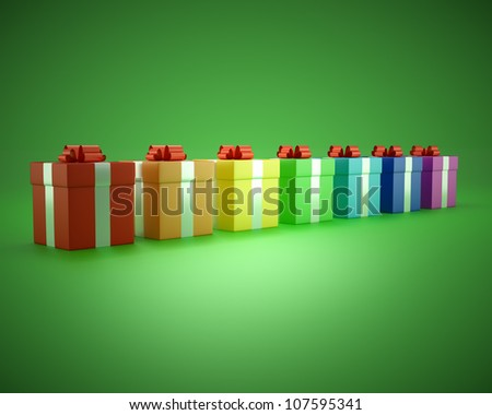 gift box rainbow on a green background