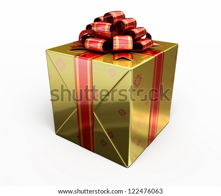 Gift Box render (isolated on white and clipping path)