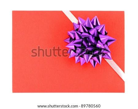 gift box set and ribbon bow on white background
