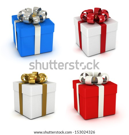 gift box set, with ribbon like a present. over white background 3d illustration.