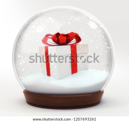 gift box snowball decoration isolated on white background, glass ball winter seasonal christmas decoration 3d illustration rendering