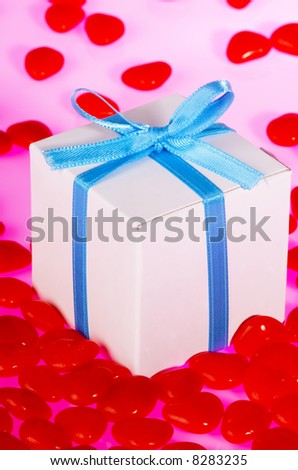 Gift Box Surrounded by Candy Hearts