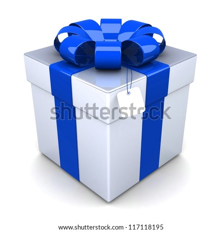 gift box, with a blue ribbon like a present. over white background 3d illustration.