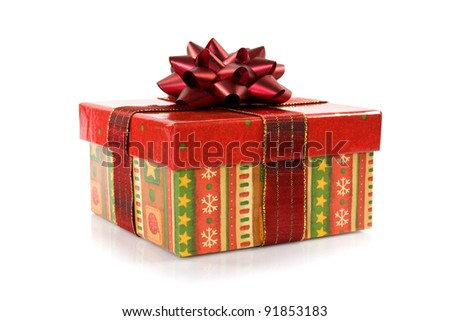 gift box  with a bow over a white background