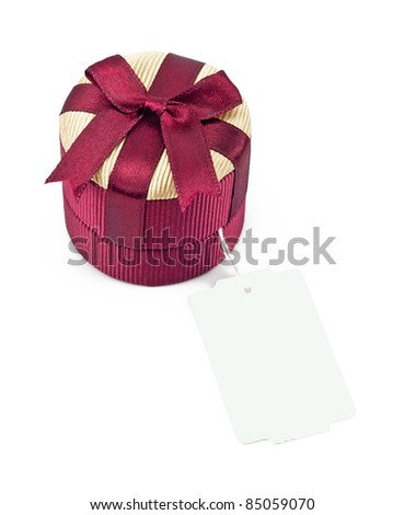 gift box with a label over white background