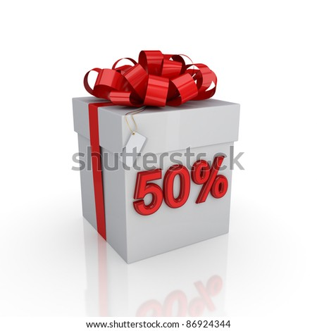 Gift box with a signature 50%.Isolated on white background. 3d rendered.