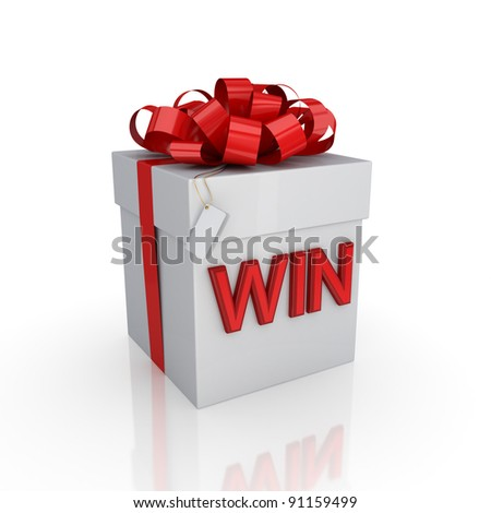 Gift box with a signature WIN.Isolated on white background. 3d rendered.