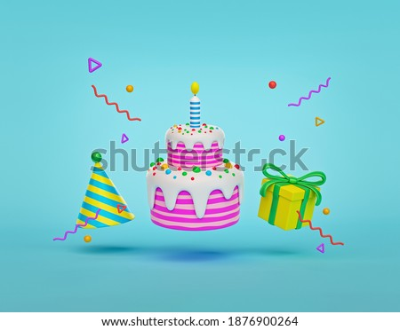 Gift Box With Birthday Cake and decorations. colorful birthday party poster. 3d rendering
