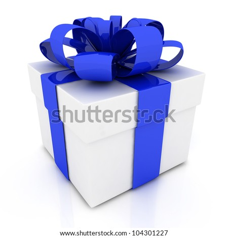 Gift box with blue ribbon bow isolated on white background