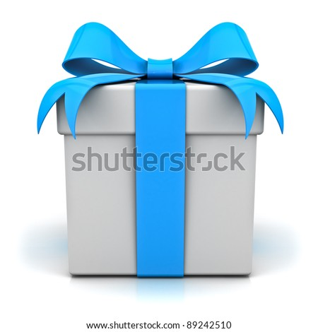 Gift box with blue ribbon bow on white background