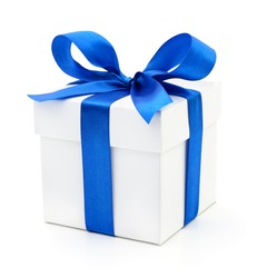 Gift box with blue ribbon on white.