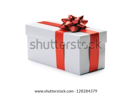 gift box with bow and red ribbon on white background