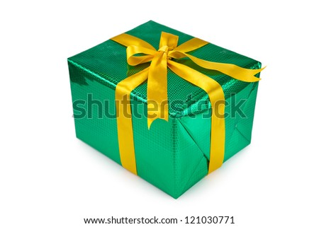 Gift box with bow and ribbon on white background