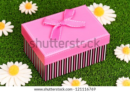 Gift box with bow on artificial green grass