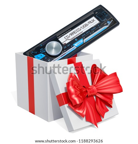 Gift box with car digital media receiver, 3D rendering isolated on white background