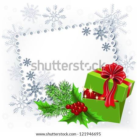 Gift box with Christmas decoration napkin.  Raster version of vector.