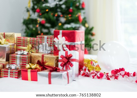 gift box with christmas tree background for surprise children in new year or xmas party festival