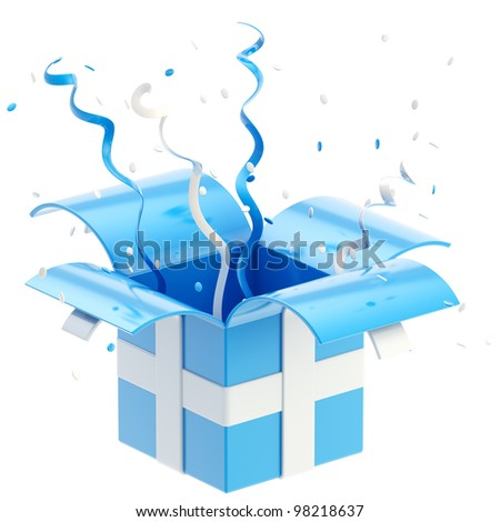 Gift box with colorful ribbon, serpentine and confetti isolated on white - stock photo