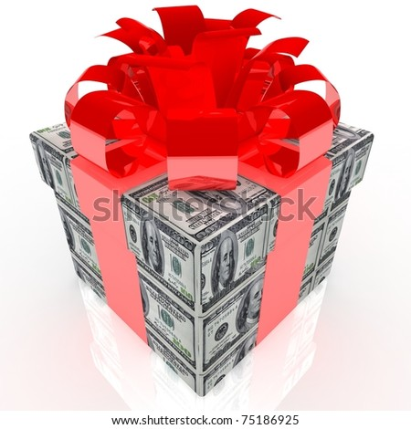 Gift box with 100 dollar wrap.