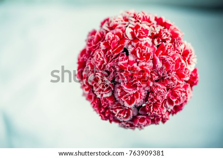 Gift box with flowers on white background #763909381