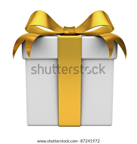 Gift box with gold ribbon bow isolated on white background