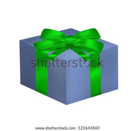 Gift box with green ribbon and bow isolated on the white background