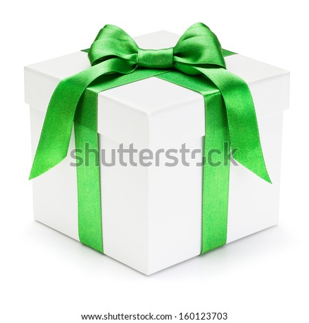 Gift box with green ribbon and bow, isolated on the white background, clipping path included.