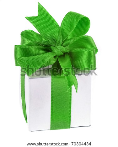 gift box with green ribbon bow isolated on white